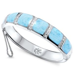 MarahLago Lena 18k gold and Silver Larimar Bangle